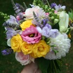 Dahlia, mint, fresia and rose bouquet