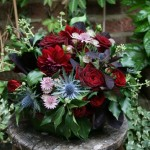 Eryngium,Red Rose and Cotinus arrangement