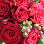 Red rose, Skimma and Hypericum bouquet