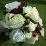 Red Rose, Red Robin and Hypericum berry bouquet