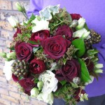 Red rose, Lisianthus, Ivy and Viburnum