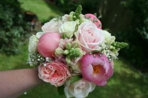 Coral peonies, Antirrhinum and roses