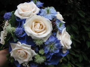 Cornflowers, Nigella and roses