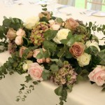 Hydrangea and eucalyptus top table