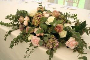 Hydrangea and eucalyptus top table