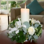 Lily and eucalyptus candle arrangement