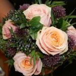 Allium, peach rose and viburnum bouquet