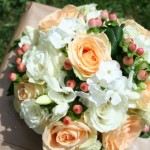 Peach rose, white phlox and Honey Hypericum bouquet