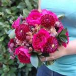 David Austin rose and dark red dahlia bouquet