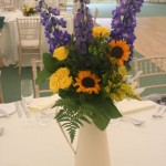 Sunflower and Delphinium table decoration