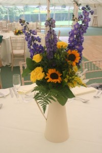 Sunflower and Delphinium table decoration