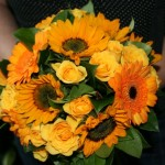Mini Sunflowers, gerbera and rose bouquet
