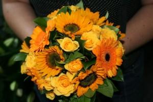 Mini Sunflowers, gerbera and rose bouquet