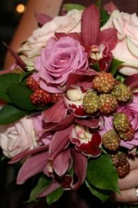 Pink rose, Cymbidium Orchid and blackberries