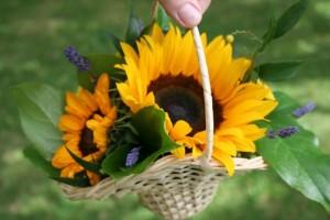 Sun flower and Lavender flower girl basket