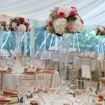 Hydrangea and David austin roses table arrangmnet