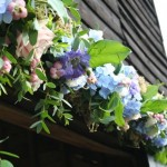 Scabious and hydrangea garland