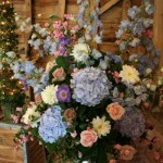 Delphinium, Hydranger, scabious and rose pedestal